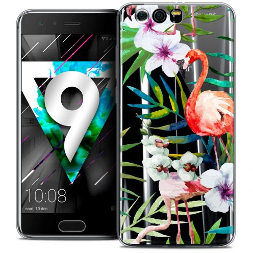 "Extra Slim Crystal Gel Huawei Honor 9 (5.15"") Case Watercolor Tropical Flamingo"