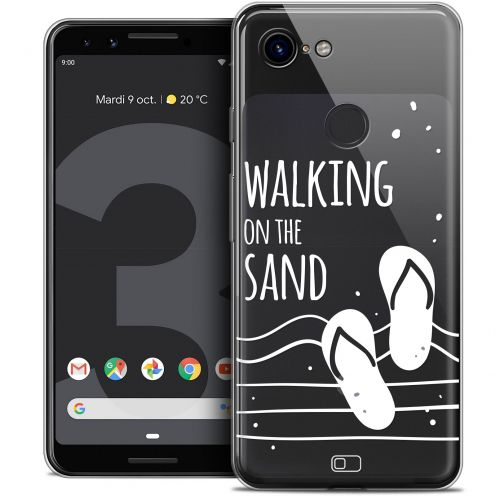 "Extra Slim Crystal Gel Google Pixel 3 (5.5"") Case Summer Walking on the Sand"