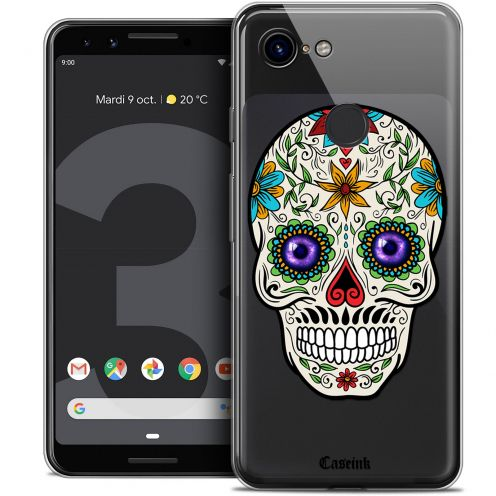 "Extra Slim Crystal Gel Google Pixel 3 (5.5"") Case Skull Maria's Flower"