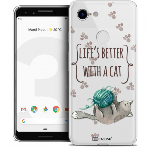 "Extra Slim Crystal Gel Google Pixel 3 (5.5"") Case Quote Life's Better With a Cat"