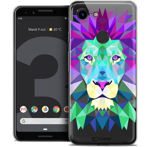 "Extra Slim Crystal Gel Google Pixel 3 (5.5"") Case Polygon Animals Lion"