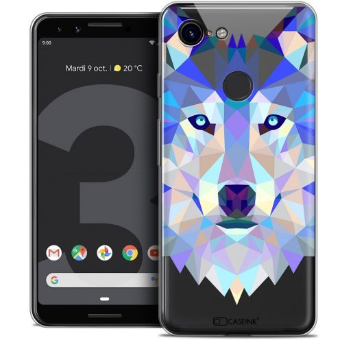 "Extra Slim Crystal Gel Google Pixel 3 (5.5"") Case Polygon Animals Wolf"