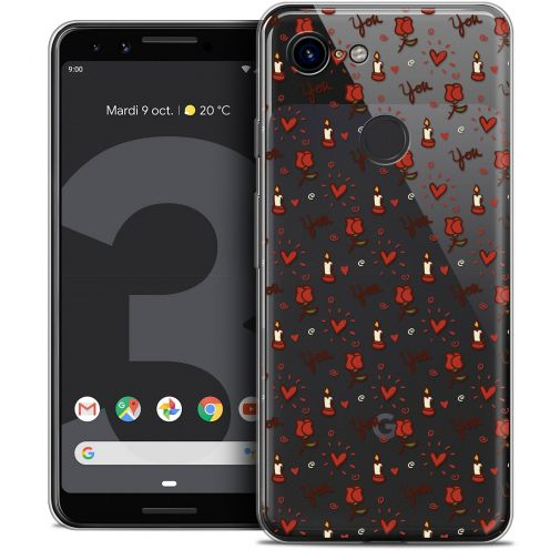 "Extra Slim Crystal Gel Google Pixel 3 (5.5"") Case Love Bougies et Roses"