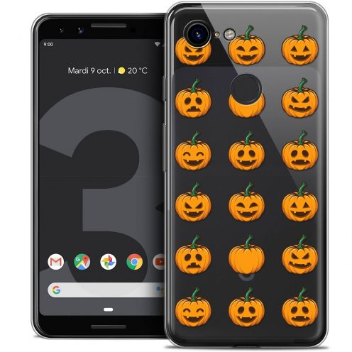 "Extra Slim Crystal Gel Google Pixel 3 (5.5"") Case Halloween Smiley Citrouille"