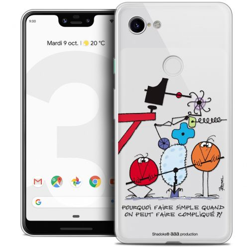 "Extra Slim Crystal Gel Google Pixel 3 XL (6.3"") Case Les Shadoks® Pourquoi faire Simple"