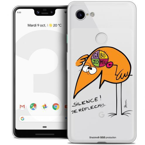 "Extra Slim Crystal Gel Google Pixel 3 XL (6.3"") Case Les Shadoks® Silence !"