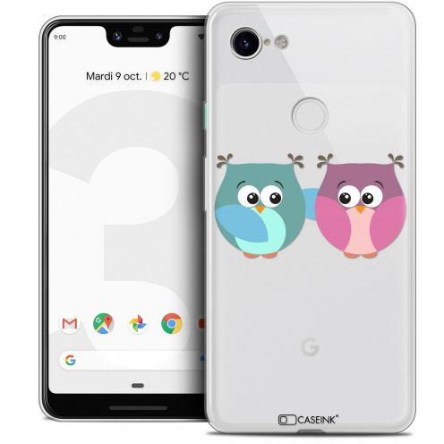 "Extra Slim Crystal Gel Google Pixel 3 XL (6.3"") Case Love Hibous à deux"