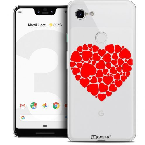 "Extra Slim Crystal Gel Google Pixel 3 XL (6.3"") Case Love Coeur des Coeurs"