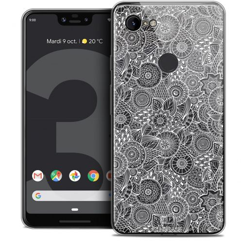 "Extra Slim Crystal Gel Google Pixel 3 XL (6.3"") Case Dentelle Florale Blanc"