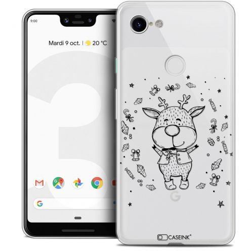 "Extra Slim Crystal Gel Google Pixel 3 XL (6.3"") Case Noël 2017 Sketchy Cerf"