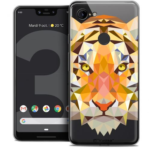 "Extra Slim Crystal Gel Google Pixel 3 XL (6.3"") Case Polygon Animals Tiger"