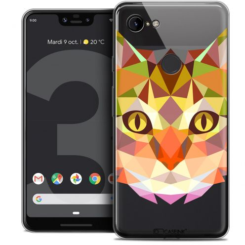 "Extra Slim Crystal Gel Google Pixel 3 XL (6.3"") Case Polygon Animals Cat"