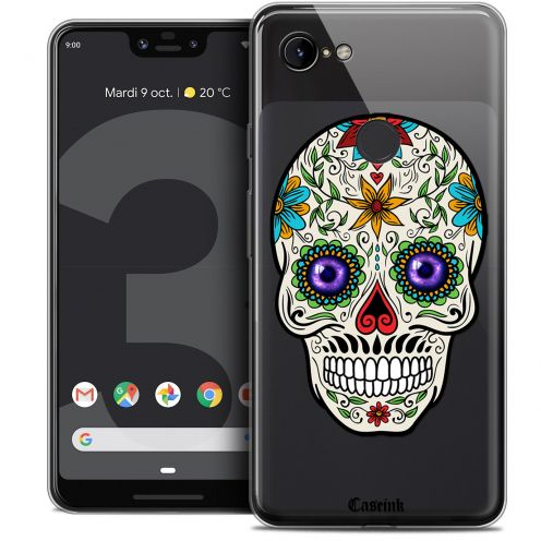 "Extra Slim Crystal Gel Google Pixel 3 XL (6.3"") Case Skull Maria's Flower"