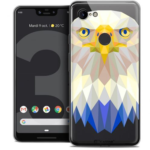 "Extra Slim Crystal Gel Google Pixel 3 XL (6.3"") Case Polygon Animals Eagle"