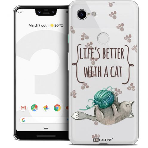 "Extra Slim Crystal Gel Google Pixel 3 XL (6.3"") Case Quote Life's Better With a Cat"