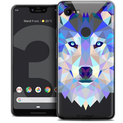 "Extra Slim Crystal Gel Google Pixel 3 XL (6.3"") Case Polygon Animals Wolf"