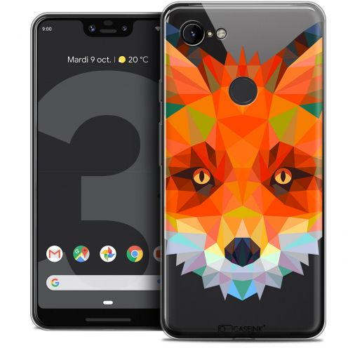 "Extra Slim Crystal Gel Google Pixel 3 XL (6.3"") Case Polygon Animals Fox"