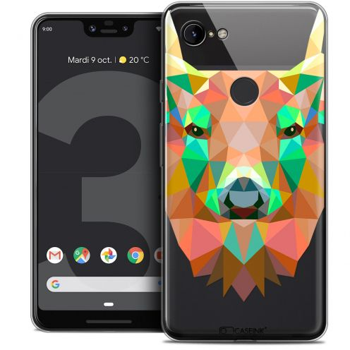 "Extra Slim Crystal Gel Google Pixel 3 XL (6.3"") Case Polygon Animals Deer"
