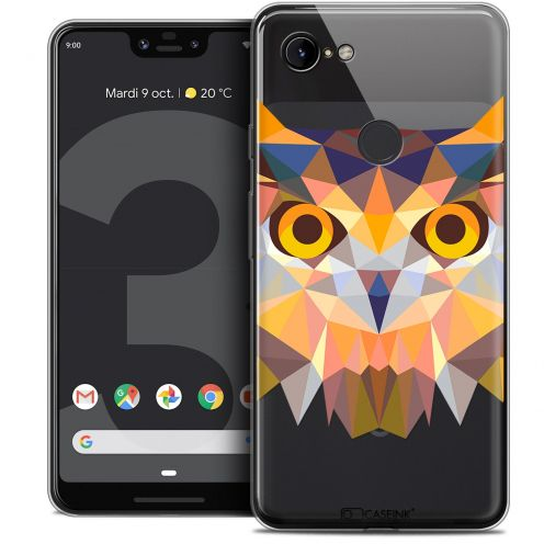 "Extra Slim Crystal Gel Google Pixel 3 XL (6.3"") Case Polygon Animals Owl"