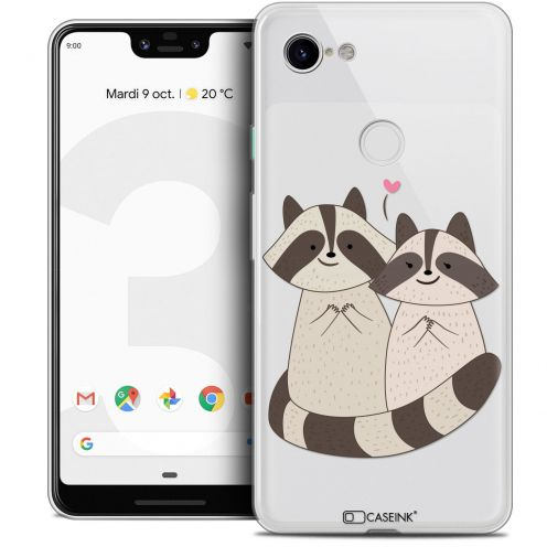 "Extra Slim Crystal Gel Google Pixel 3 XL (6.3"") Case Sweetie Racoon Love"