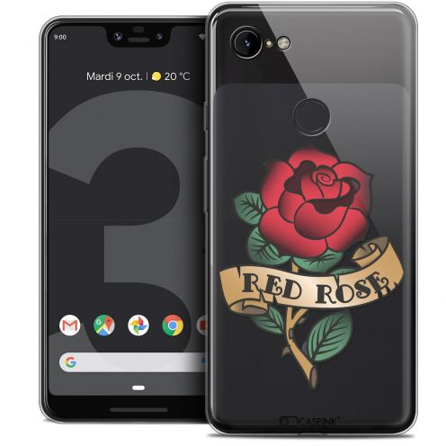 "Extra Slim Crystal Gel Google Pixel 3 XL (6.3"") Case Tatoo Lover Red Rose"