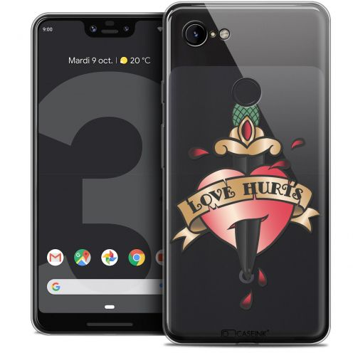 "Extra Slim Crystal Gel Google Pixel 3 XL (6.3"") Case Tatoo Lover Love Hurts"