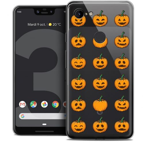 "Extra Slim Crystal Gel Google Pixel 3 XL (6.3"") Case Halloween Smiley Citrouille"
