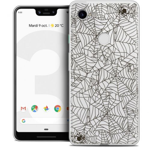 "Extra Slim Crystal Gel Google Pixel 3 XL (6.3"") Case Halloween Spooky Spider"