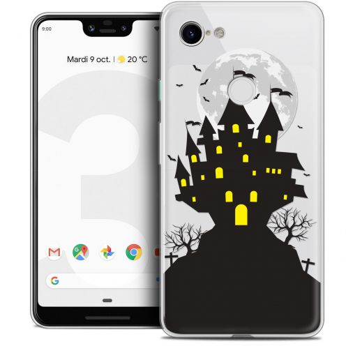 "Extra Slim Crystal Gel Google Pixel 3 XL (6.3"") Case Halloween Castle Scream"