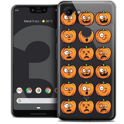 "Extra Slim Crystal Gel Google Pixel 3 XL (6.3"") Case Halloween Cartoon Citrouille"