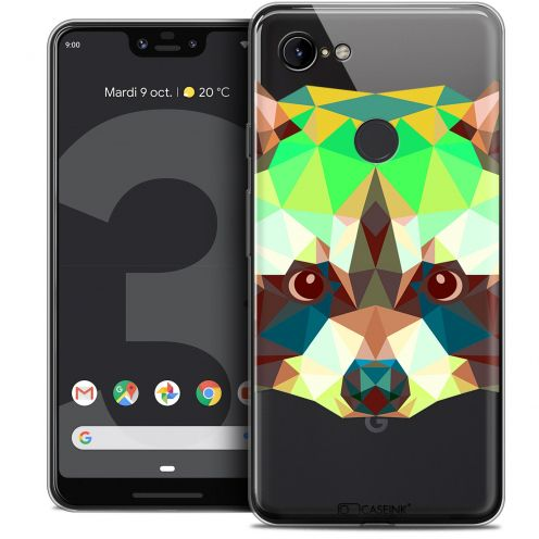 "Extra Slim Crystal Gel Google Pixel 3 XL (6.3"") Case Polygon Animals Raton Laveur"