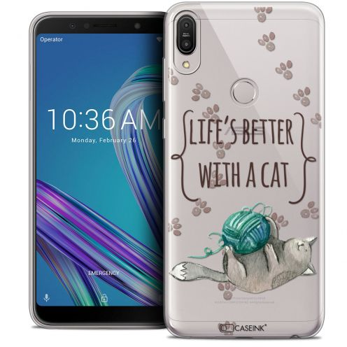 """Extra Slim Crystal Gel Asus Zenfone Max Pro (M1) ZB601KL (6"""") Case Quote Life's Better With a Cat"""