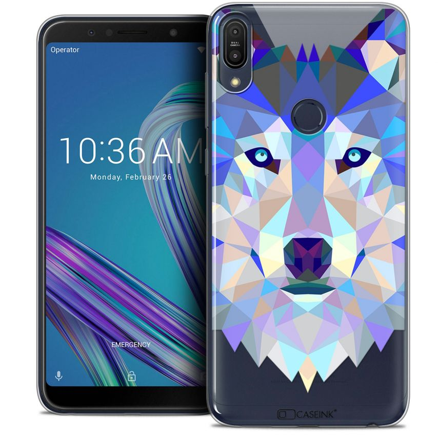 "Extra Slim Crystal Gel Asus Zenfone Max Pro (M1) ZB601KL (6"") Case Polygon Animals Wolf"