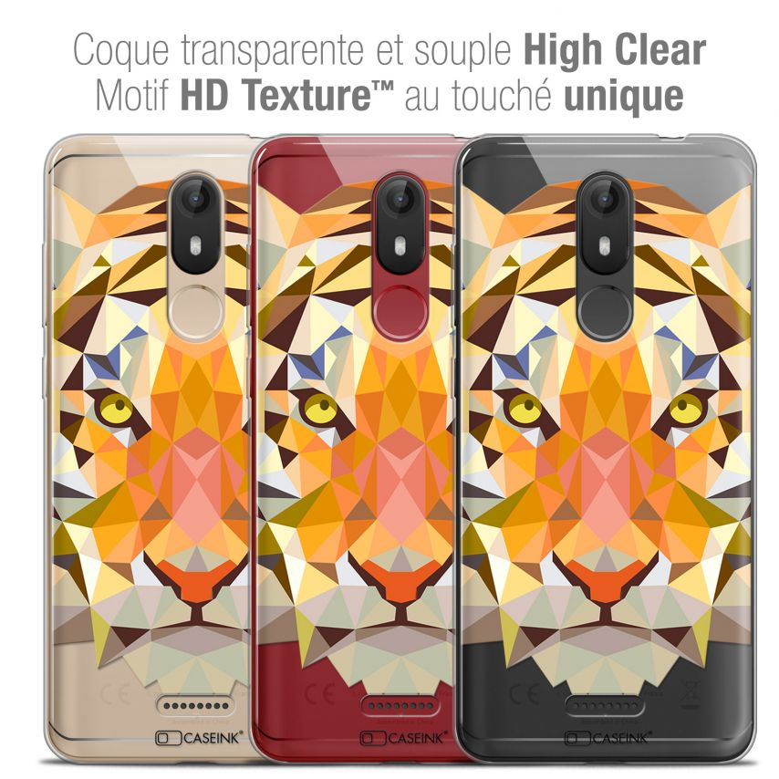 "Extra Slim Crystal Gel Wiko View LITE (5.45"") Case Polygon Animals Tiger"