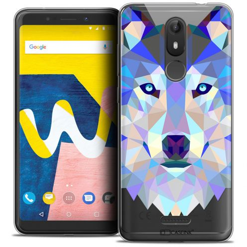"Extra Slim Crystal Gel Wiko View LITE (5.45"") Case Polygon Animals Wolf"