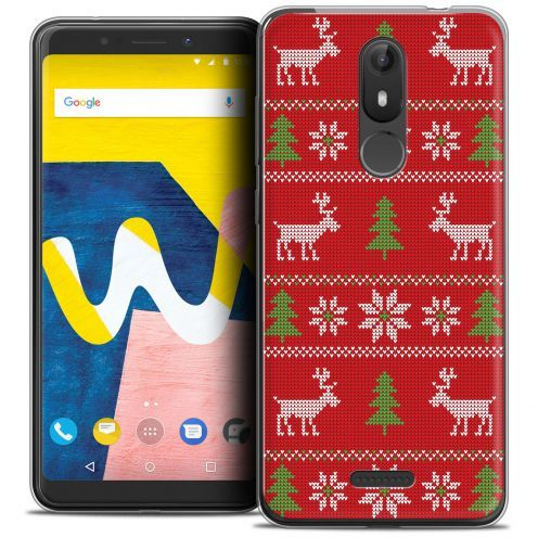 """Extra Slim Crystal Gel Wiko View LITE (5.45"""") Case Noël 2017 Couture Rouge"""