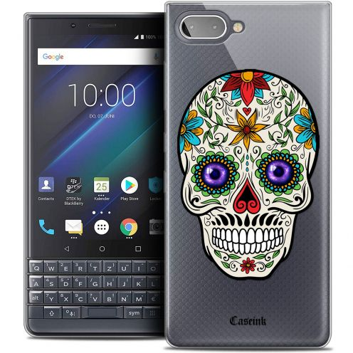 "Extra Slim Crystal Gel BlackBerry Key2 LE (4.5"") Case Skull Maria's Flower"