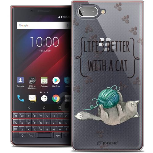 """Extra Slim Crystal Gel BlackBerry Key2 LE (4.5"""") Case Quote Life's Better With a Cat"""