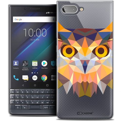 "Extra Slim Crystal Gel BlackBerry Key2 LE (4.5"") Case Polygon Animals Owl"
