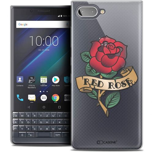 "Extra Slim Crystal Gel BlackBerry Key2 LE (4.5"") Case Tatoo Lover Red Rose"