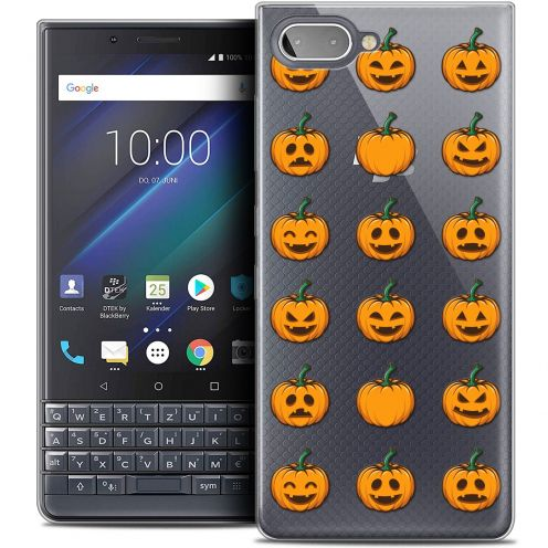 "Extra Slim Crystal Gel BlackBerry Key2 LE (4.5"") Case Halloween Smiley Citrouille"