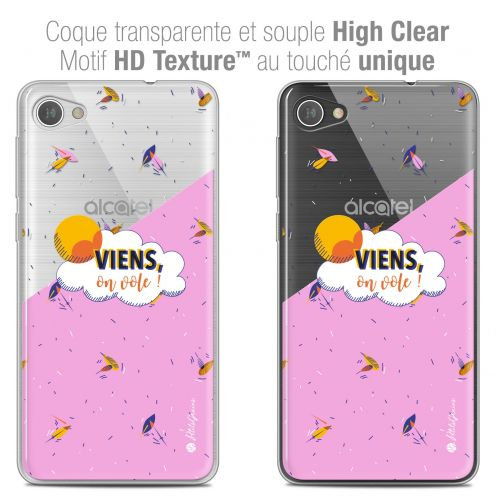 "Extra Slim Crystal Gel Alcatel A5 LED (5.2"") Case Petits Grains® VIENS, On Vole !"