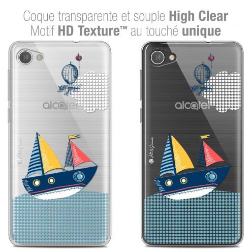 "Extra Slim Crystal Gel Alcatel A5 LED (5.2"") Case Petits Grains® MVE Le Bateau"