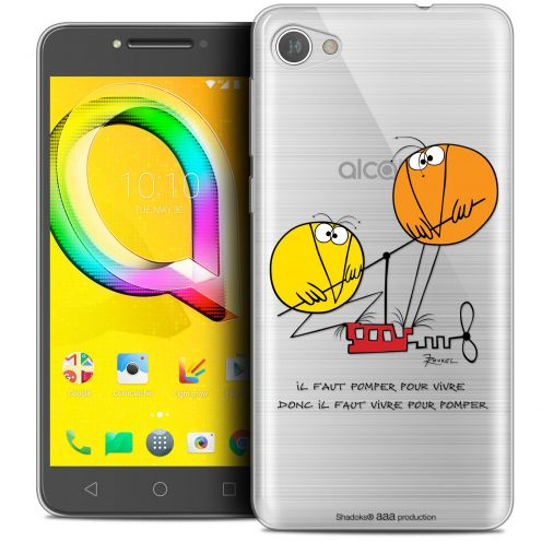 "Extra Slim Crystal Gel Alcatel A5 LED (5.2"") Case Les Shadoks® Vivre Pour Pomper"