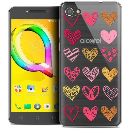 "Extra Slim Crystal Gel Alcatel A5 LED (5.2"") Case Sweetie Doodling Hearts"