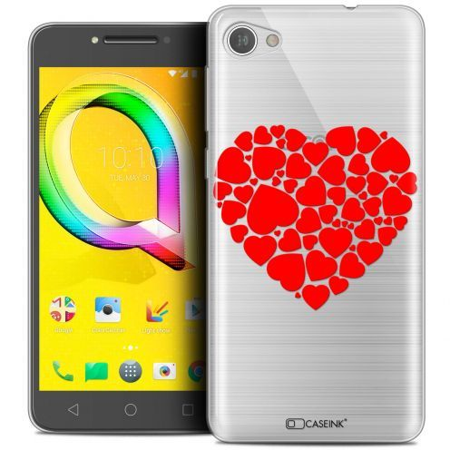 "Extra Slim Crystal Gel Alcatel A5 LED (5.2"") Case Love Coeur des Coeurs"
