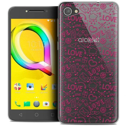 "Extra Slim Crystal Gel Alcatel A5 LED (5.2"") Case Love Doodle"