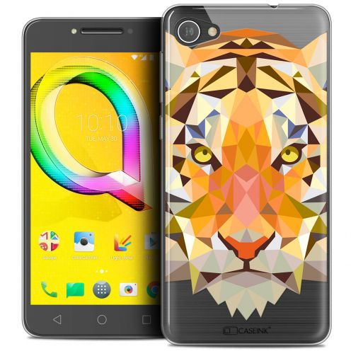 "Extra Slim Crystal Gel Alcatel A5 LED (5.2"") Case Polygon Animals Tiger"