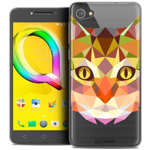 "Extra Slim Crystal Gel Alcatel A5 LED (5.2"") Case Polygon Animals Cat"