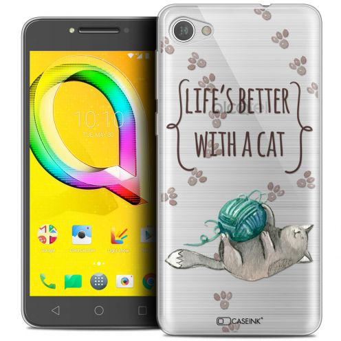 "Extra Slim Crystal Gel Alcatel A5 LED (5.2"") Case Quote Life's Better With a Cat"